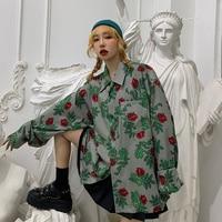 Spring Autumn Woman New Personalized Long Sleeve Floral Blouse Kimono Tops Ladies Japan Harajuku Lady Stylish Loose Retro Shirts