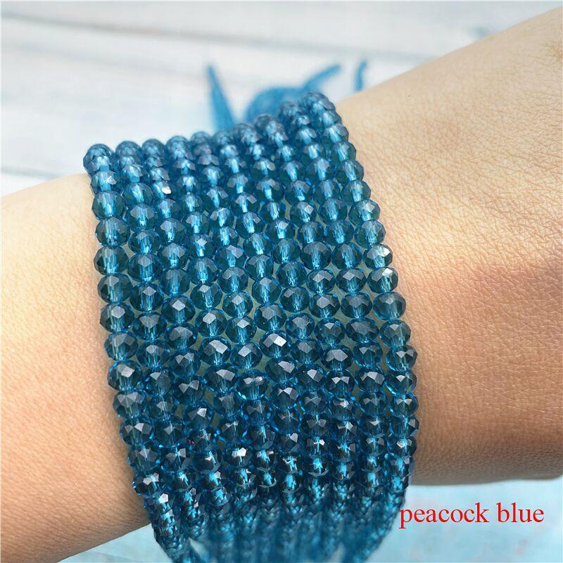 40 цветов 1 нить 2X3 мм/3X4 мм/4X6 мм хрустальные бусины rondelle хрустальные бусины стеклянные бусины для самостоятельного изготовления ювелирных изделий - Цвет: Peacock Blue