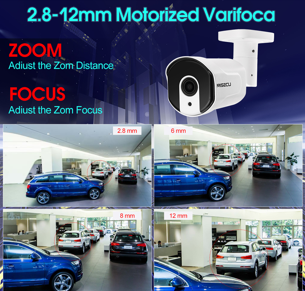 Image 2 - MISECU 8CH 1080P POE Security CCTV System IP Camera 2.8mm 12mm Motorized Auto Zoom Lens P2P ONVIF Night Vision Surveillance Kit-in Surveillance System from Security & Protection