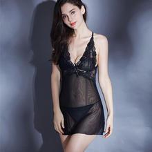 Comércio exterior feminino suspender sexy roupa interior perspectiva vestido laço tentação cruz voltar sexy pijamas