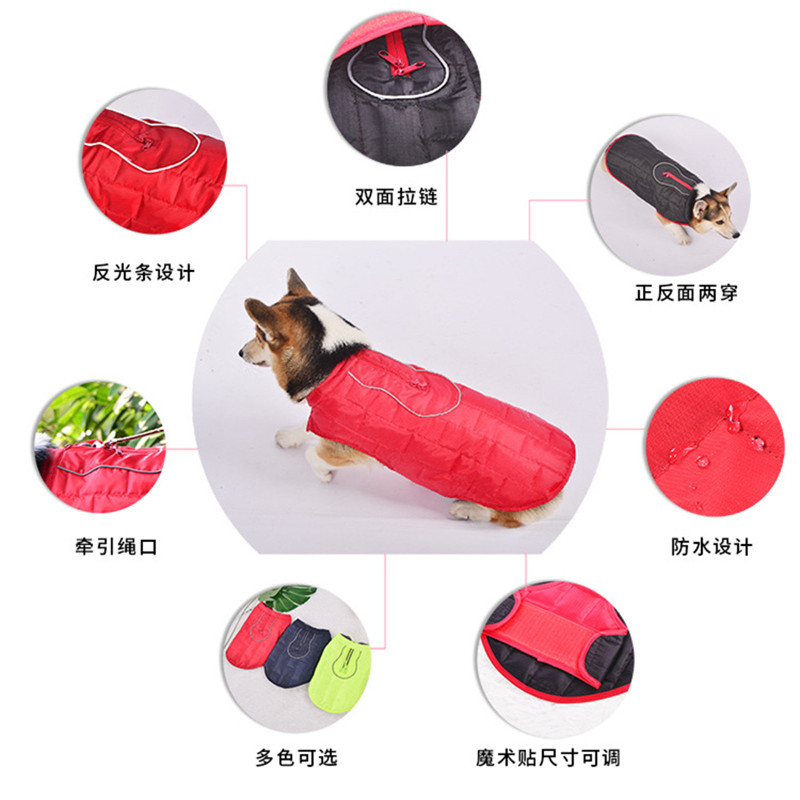 Pet Clothes Autumn And Winter Dog Double-Sided Wearable Warm Jacket Pet Cotton-padded Clothes Pet Supplies