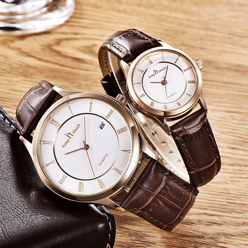 KEEP IN TOUCH Fashion New Couple Watch Sport Leather Lover's Watches Black Waterproof Gifts for Men Women Clock Quartz Watches
