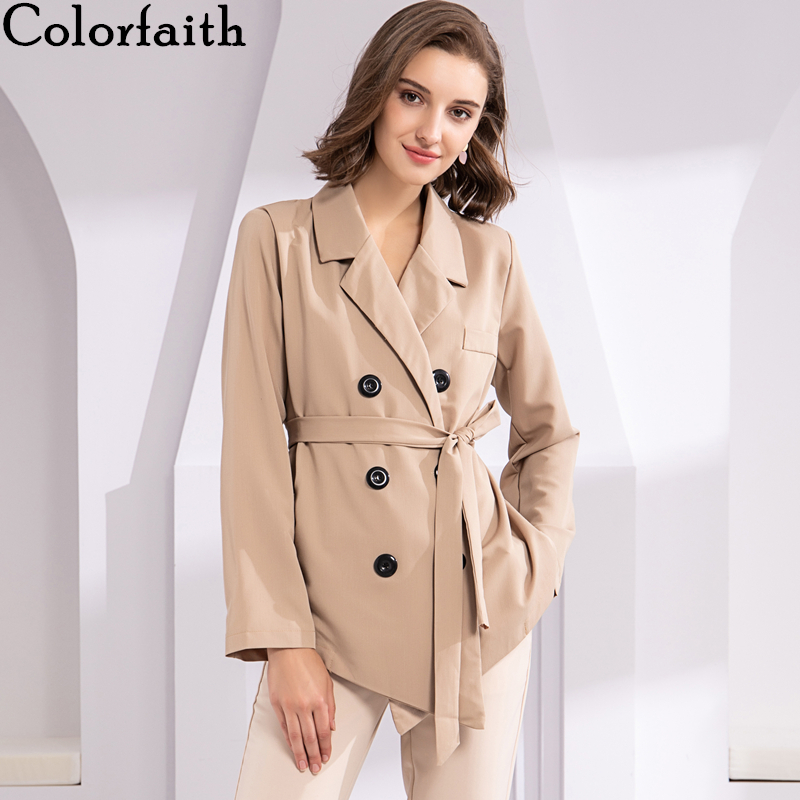 Colorfaith New 2019 Autumn Winter Women's Blazers Sashes Button  Jackets Notched Outerwear England Style Cardigan Tops JK8811