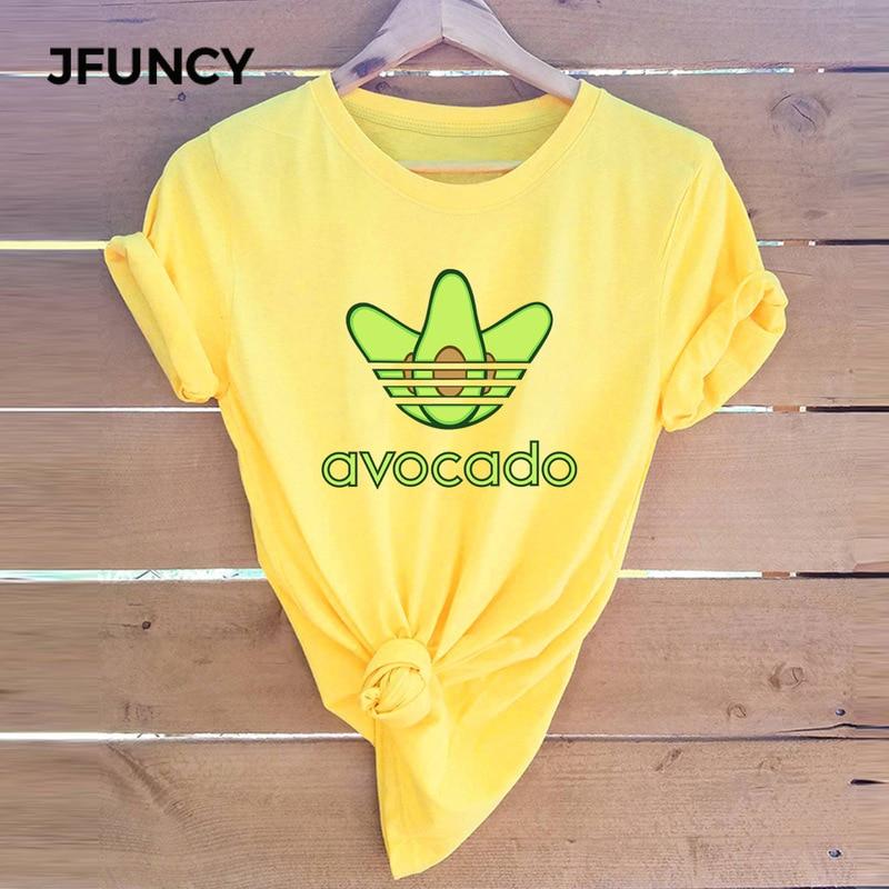Funny Avocado Women T Shirts 2019 Summer Female Short Sleeve Harajuku Shirt Femme Office Mom Tops 5XL Plus Size Graphic Tees