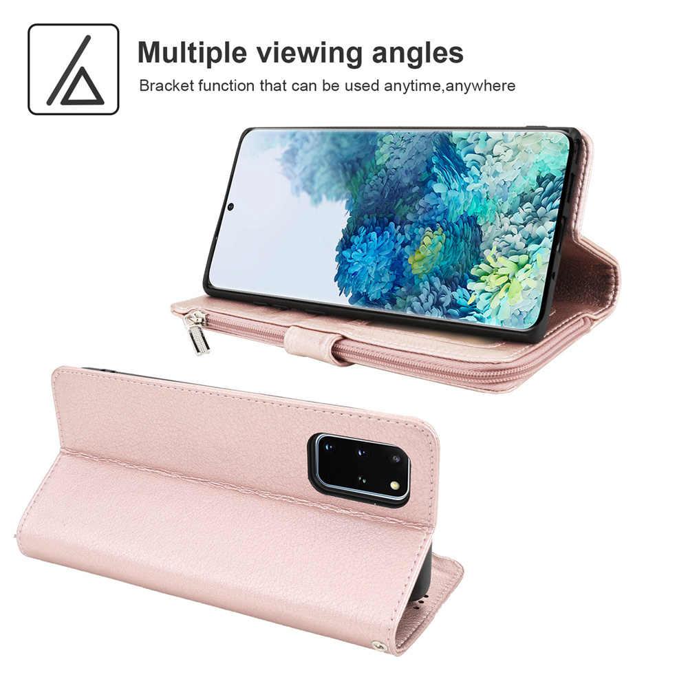 Mewah Dompet untuk Samsung S20 Ultra Kulit Zipper Case untuk Samsung Galaxy S20 S10 E S9 S8 Note 8 9 10 Ditambah 5G Kartu Ponsel Cover