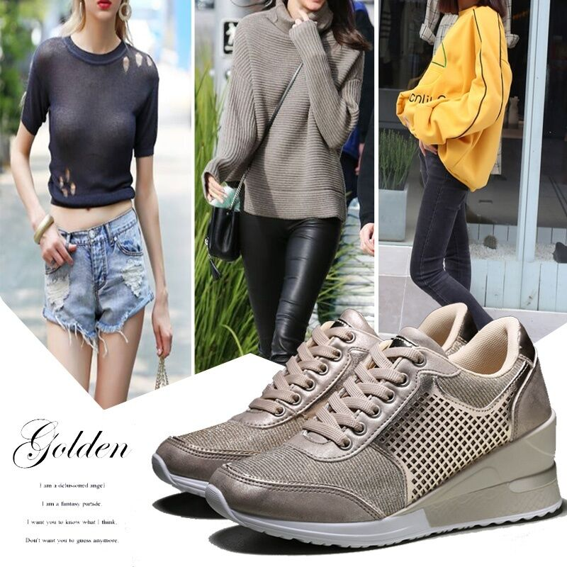 2020 Womens Jogging Walking Shoes 6.5cm High Heeled Wedge Sneakers Ladies Lightweight Lace Up Casual Sneakers Girls Female