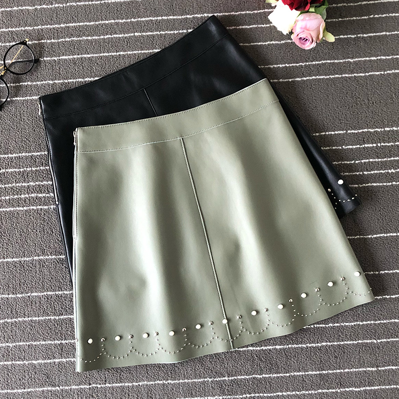 Womens sheepskin leather skirts 2019 brand new high quality real rivets A982