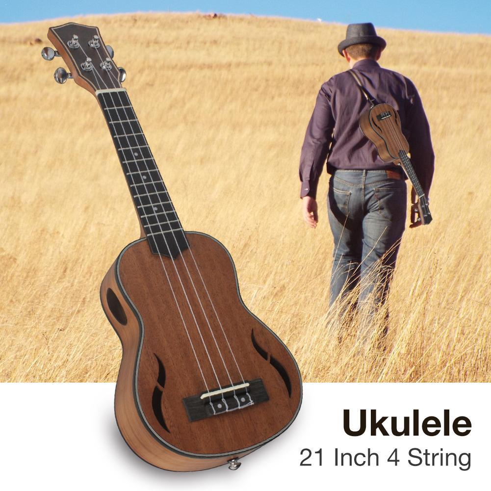 21 pouces 4 cordes en acajou ukulélé hawaïen petit Instrument de jeu de guitare - 3