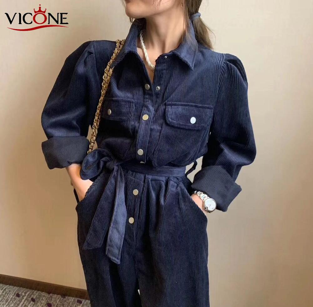 VICONE 3 Colours Spring 2020 Corduroy Jumpsuits Romper Women High Fashion Button Jumpsuit Female Casual Overalls