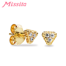 MISSITA Classic Shining Gold Color Triangle Earrings for Women Jewelry Wedding Brand Stud Gift HOT SELL