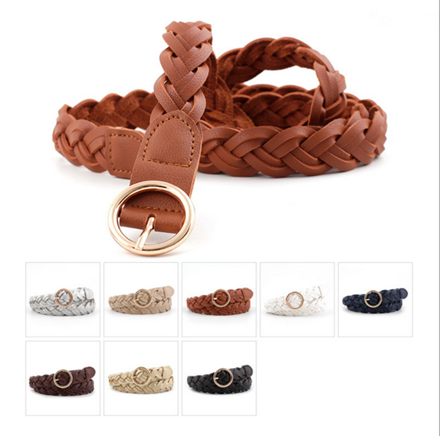 2020 Fashion Women's Woven Belt Korean Wild Decorative Pleated Skirt Coat Round Buckle Belt