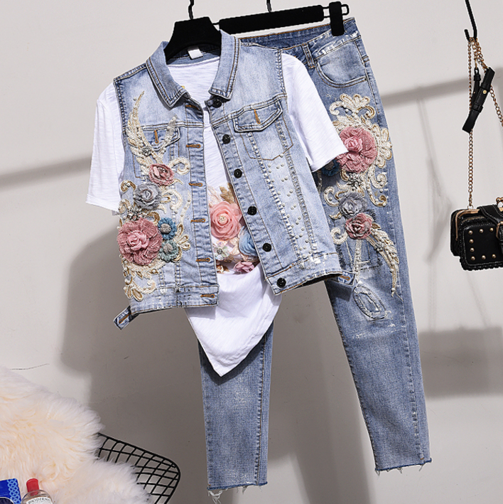 Denim Jeans Pants Set Women Two Piece Sets 2020 Spring Autumn New Studded Beaded Embroidered Vest Jeans Suit Waistcoat And Jeans