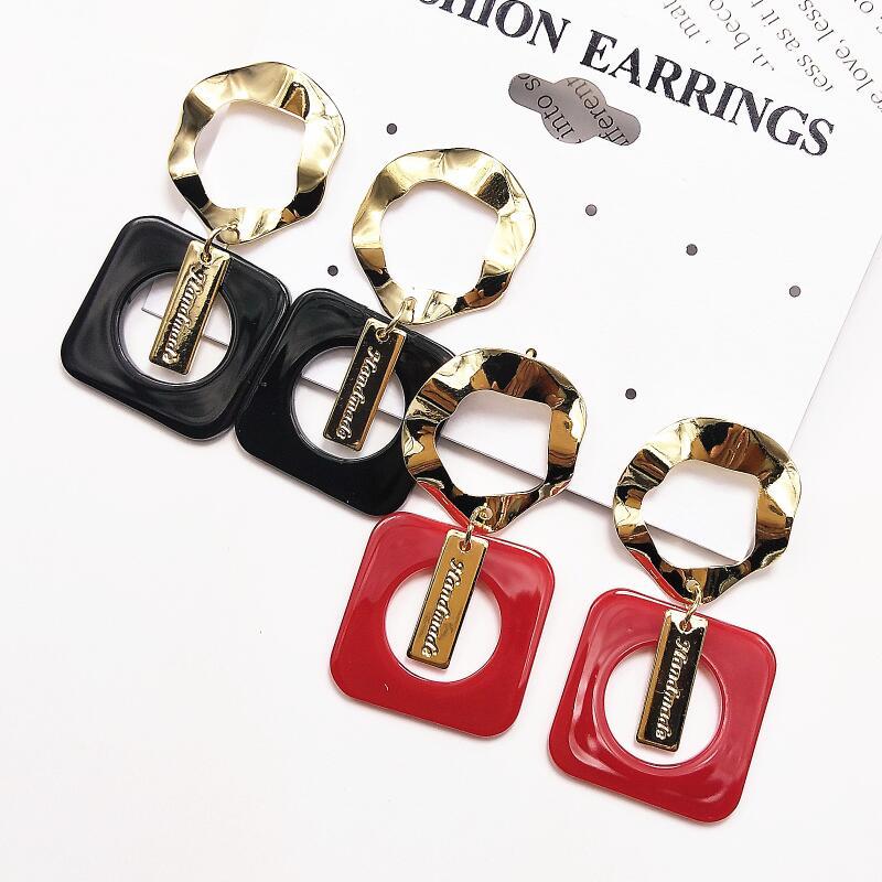 New Acrylic Drop Earrings Fashin Statement  Jewelry Korean Big Metal Round Earrings Resin Square Geometric Earrings For Women