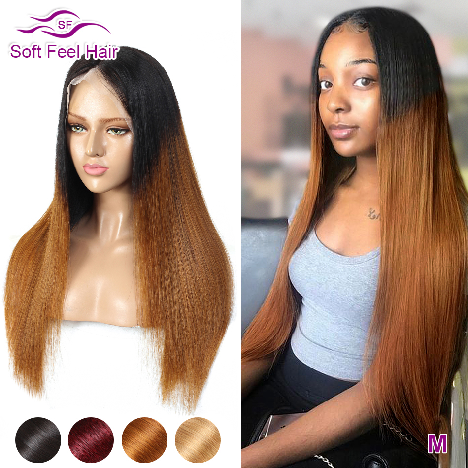 13x4 Lace Front Human Hair Wigs For Women Brazilian Straight Ombre Lace Front Wig Remy Transparent Lace Wigs 150% Soft Feel Hair