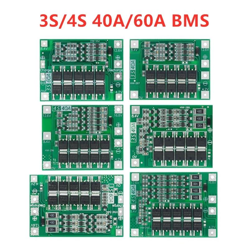 Защитная плата 3S/4S 40A/60A 18650 BMS, для зарядки литий-ионных батарей, для двигателя перфоратора, 11,1 В/12,6 В/14,8 В/16,8 В с увеличителем/балансиром