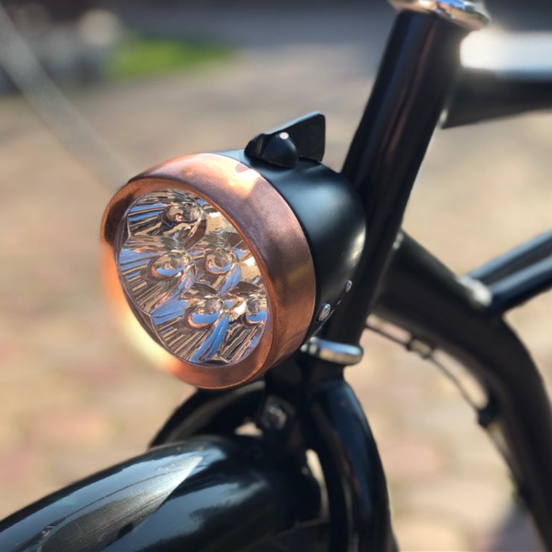 Q039 Free shipping retro bike riding supplies battery LED lights / LED bike headlight / bicycle light copper / front headlights