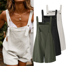 2021  Kaftan Linen Overalls Casual Suspender Rompers Female Solid Button Pants Plus Size Turnip