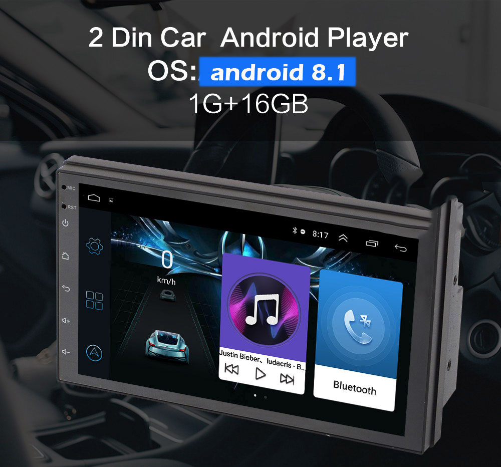 """BYNCG 2 din Android Autoradio 7 """"HD Autoradio lecteur multimédia 2DIN écran tactile Auto audio Autoradio MP5 Bluetooth"""