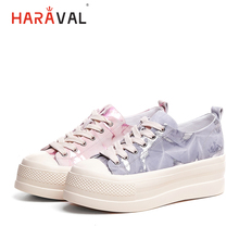 HARAVAL 2019 new round head single shoes flat cross strap casual thick bottom graffiti fashion simple women  N113