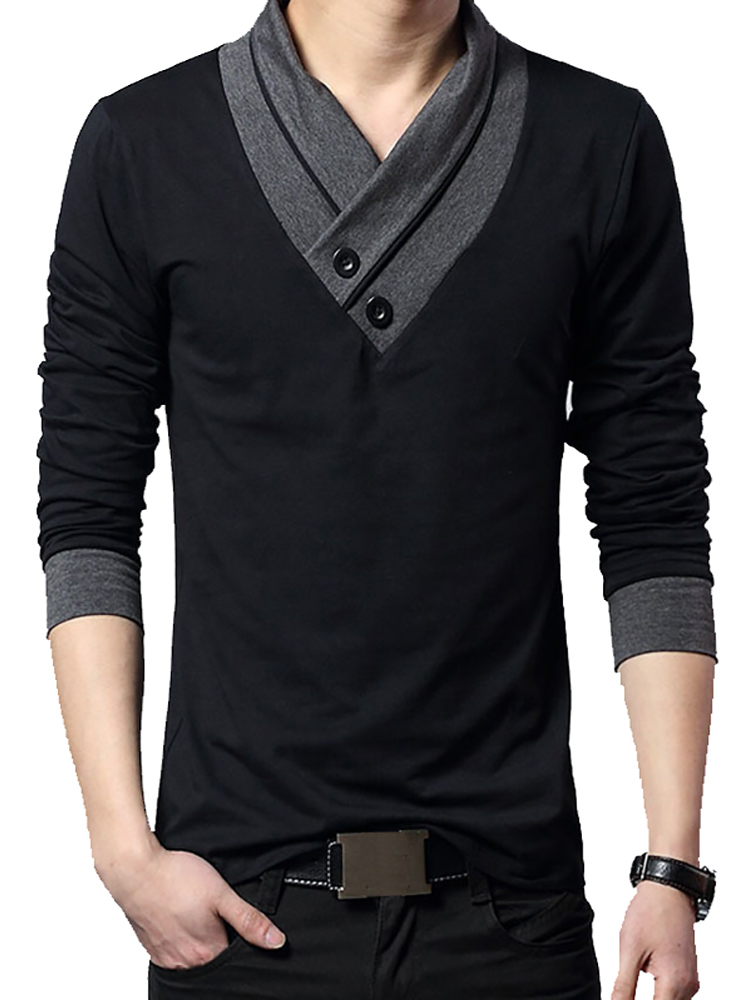 T-Shirt Men Tee Collar Slim-Fit Patchwork Long-Sleeve Trend Plus-Size Fashion-Brand Cotton