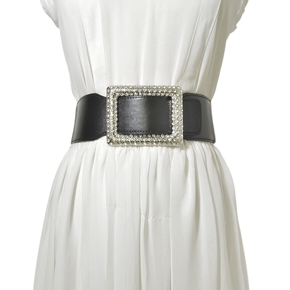 [AETRENDS] Women's Elastic Wide Stretchy Waist Cinch Belt PU Leather Rhinestone Decoration Waistband For Dresses D-0124