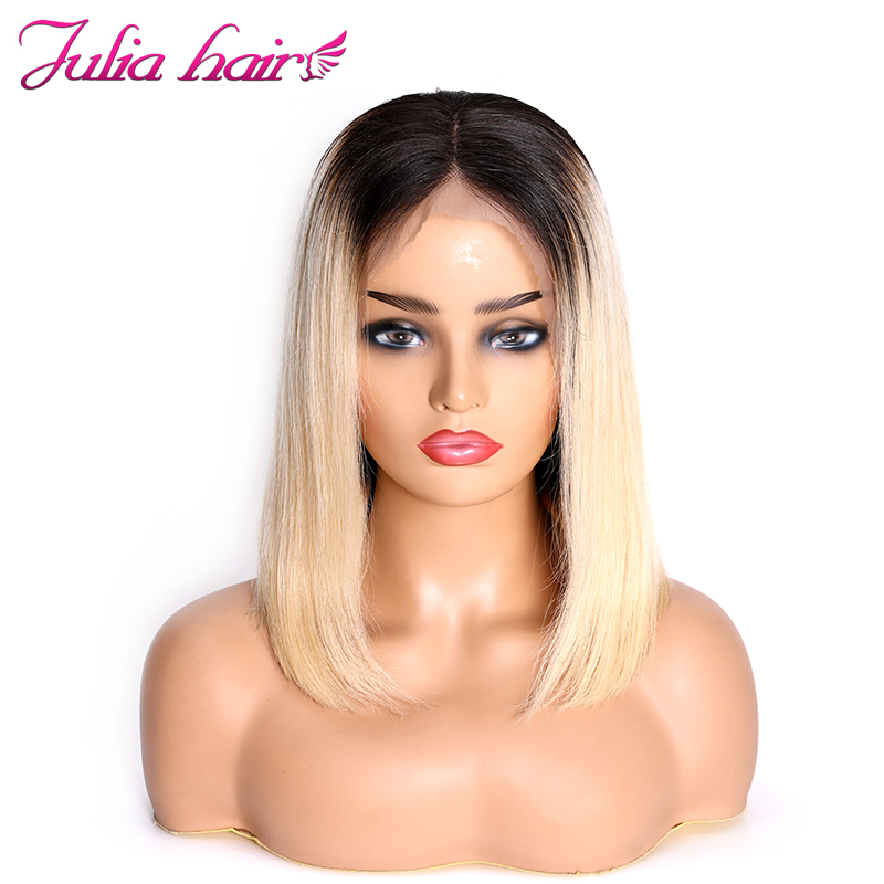 Ali Julia 13×4 Short Bob Lace Front Human Hair Wigs T1B/613 Blonde  Color Wig Brazilian Straight Remy Hair 130% 150% Density