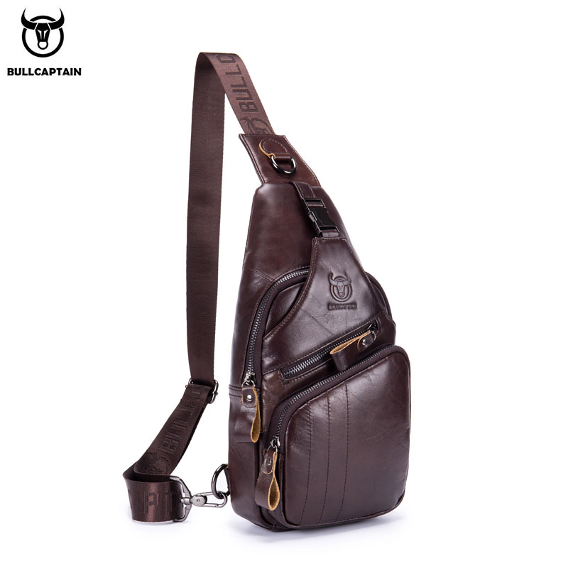 BULLCAPTAIN 2019 Genuine Leather Men Messenger Bag Casual Crossbody Bag Fashion Men's Handbag Men Chest Bag Male Shoulder Bag