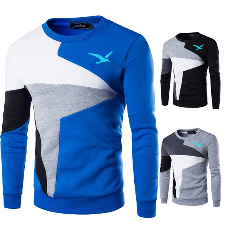 Sweaters Men European flag blue Seagull Printed Casual O-Neck Slim Cotton Knitted Mens Sweaters Pullovers Men Brand Clothing 3