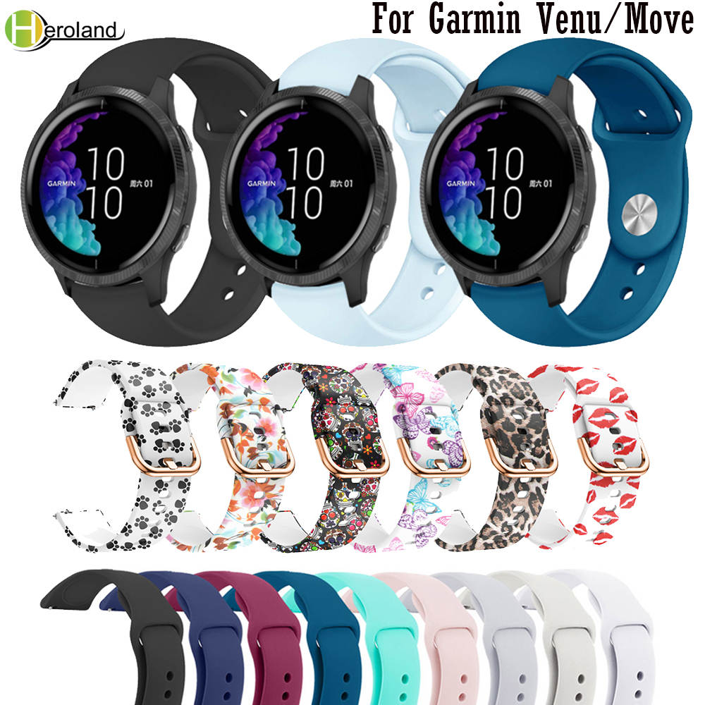 20mm Silicone  Strap For Garmin Venu SmartWatch Wristband Bracelet For Garmin Move 3 / Luxe / Style Watchband