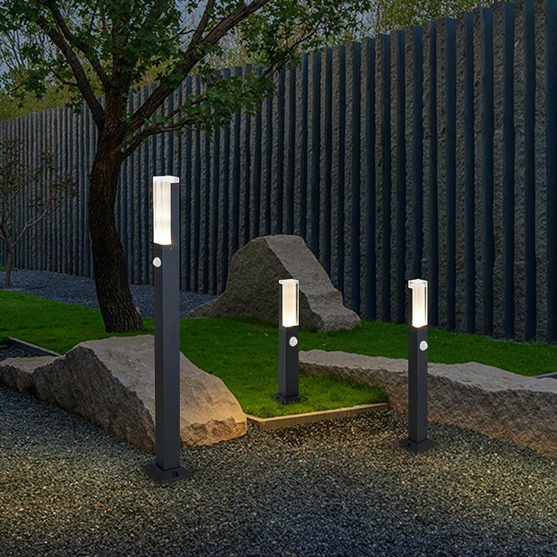 Nuevo 10W LED jardín césped lámpara moderna impermeable IP65 aluminio Sensor de movimiento Pilar luz exterior patio villa paisaje Luz
