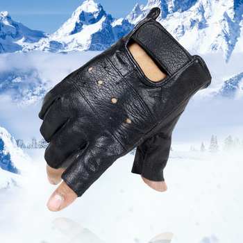 Men Slip-resistant Leather Sheep Moto Fingerless Gloves Half Finger High Quality Luvas Driving Training Fitness Guantes - discount item  40% OFF Gloves & Mittens