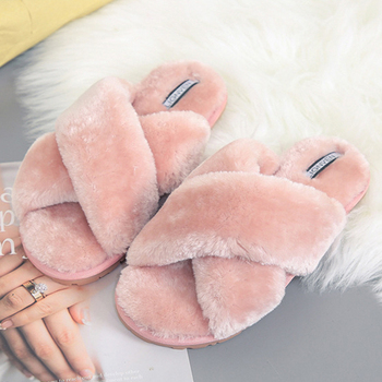 Pink Slippers Women Winter Warm Plush Fluffy Fur House Slides Shoes Women New Soft Non Slip Flat Indoor Bedroom Slippers VT1433