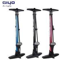 цена на Giyo Bike Pump With Gauge Presta Schrader Valve Adapter 160Psi Foot Bicycle Floor Pump Tire Road MTB Mini Bike Pump Air Inflator