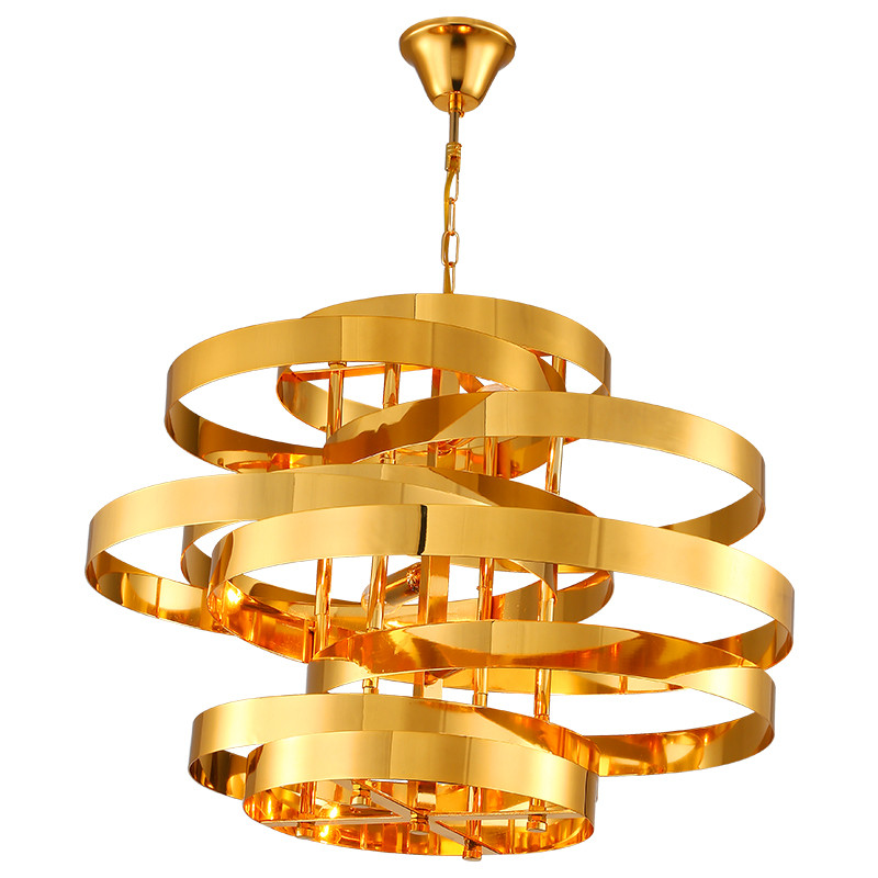 Cercle d'or pendentif lumière designer lampes magasin de vêtements de luxe or cercle pendentif lumières salon Simple fer Art déco Han