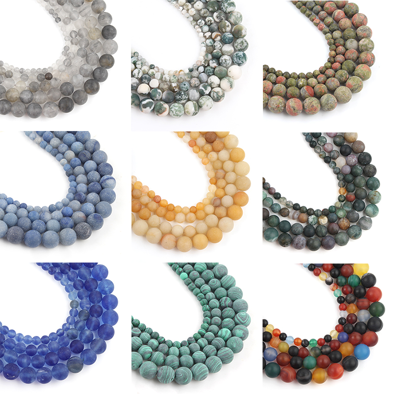 Natural Stone Dull Polish Matte Aventurine Agates Round Beads 4MM-12MM Spacer Beads Jewelry Making Diy Bracelet Necklace 15 Inch