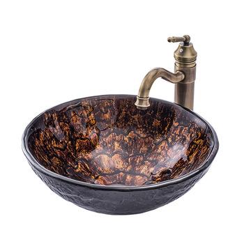 Szklane umywalki łazienkowe blat blat łazienkowy umywalki umywalka unikalny kolor tanie i dobre opinie 4 spread Nie hole ROUND Szkło Ociekaczem Blat umywalki Szampon umywalki Ręcznie malowane glass