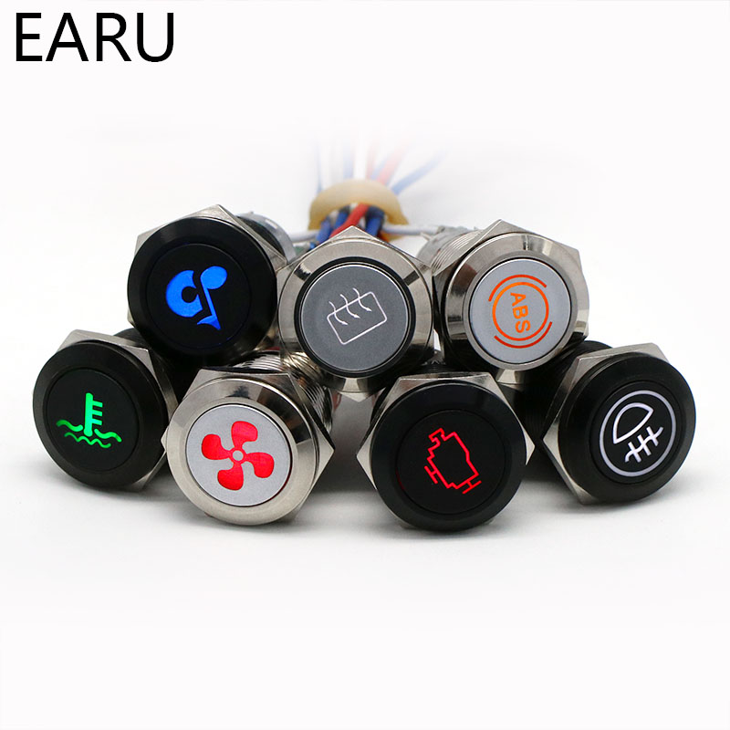 16/19/22mm Metal Push Button Switch LED Light DIY Logo Symbol Icon Signal Customization Waterproof Chromed Oxide Black For Car