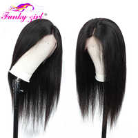 Funky Girl 13*4 Lace Front Human Hair Wigs For Women 150% Density Brazilian Straight Remy Lace Wig With Baby Hair Pre Plucked