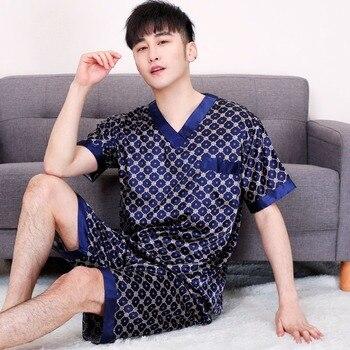 Mens Pajama Set Satin Sleepwear Men Pajamas Spring Autumn Pijama Sleep Wear Pyjamas Tops