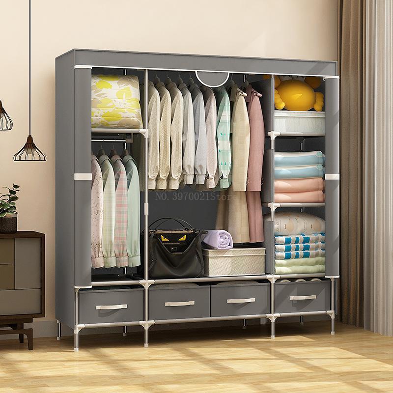 Non-Woven Fabric Cloth Closet Portable Wardrobe Durable Garment Storage Clothing Organizer Storage Shelf with Hanging Rod