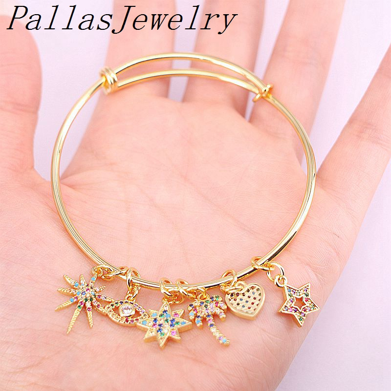 4Pcs Gold Color Charming CZ Pave Small Pendant Men Women Lady adjustable bangle Bracelet For fashion gift Charms