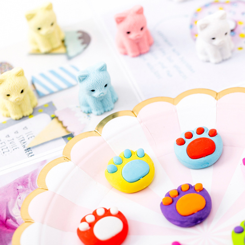 10packs/lot Cartoon Cat And Cat Claw Rubber Eraser Creative Kawaii Stationery School Supplies Papelaria Gift For Kids