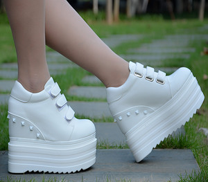 2020 new height increase women's shoes 14 cm thick bottom wedge casual shoes super high single shoes