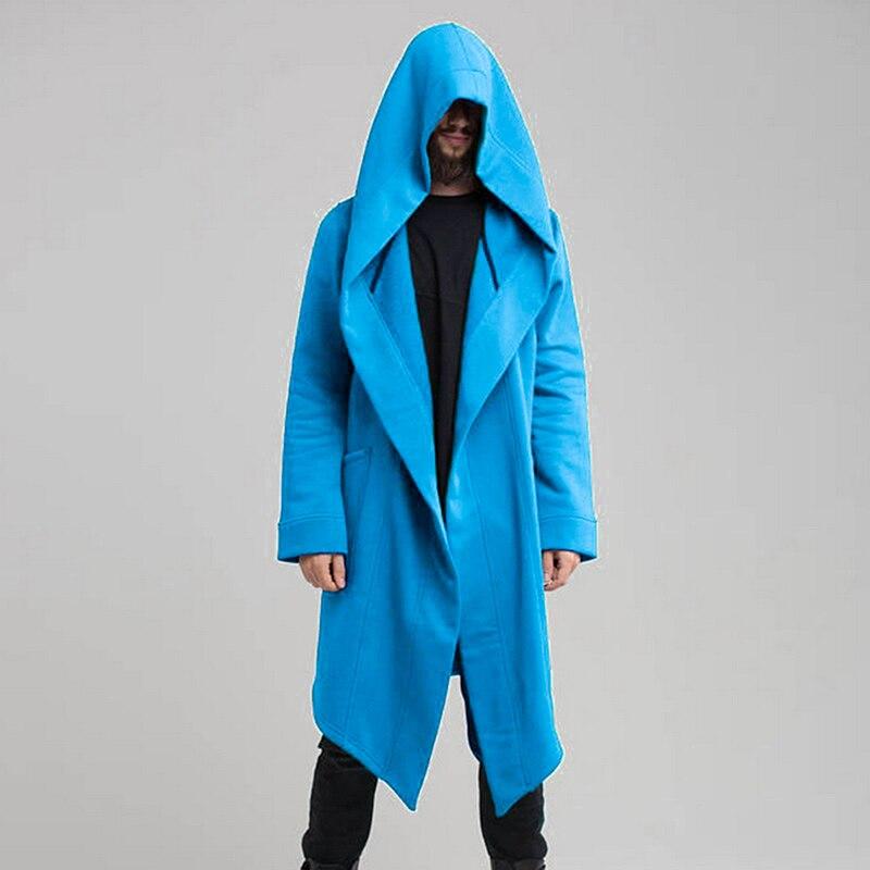 Hf1577f50f05e4d47b22d662850f876f9i Vintage Men Autumn Winter Hoodies Jacket Long Cardigan Coat Casual Hip Hop Solid Pocket Jacket Hooded Outwear Veste Homme