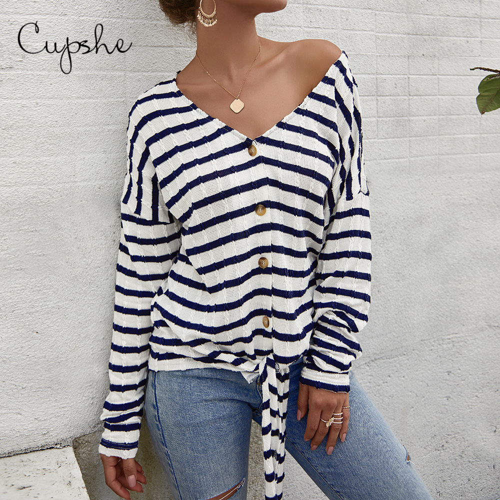 CUPSHE Casual  Stripe Print Sweatshirt Front Tie Casual Top Long Sleeve V Neck Cotton Harajuku Pullover Blouse