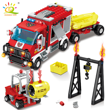 HUIQIBAO 412pcs Fire Rescue Truck Forklift Building Blocks City Construction fireman model Bricks Educational Toys for Children