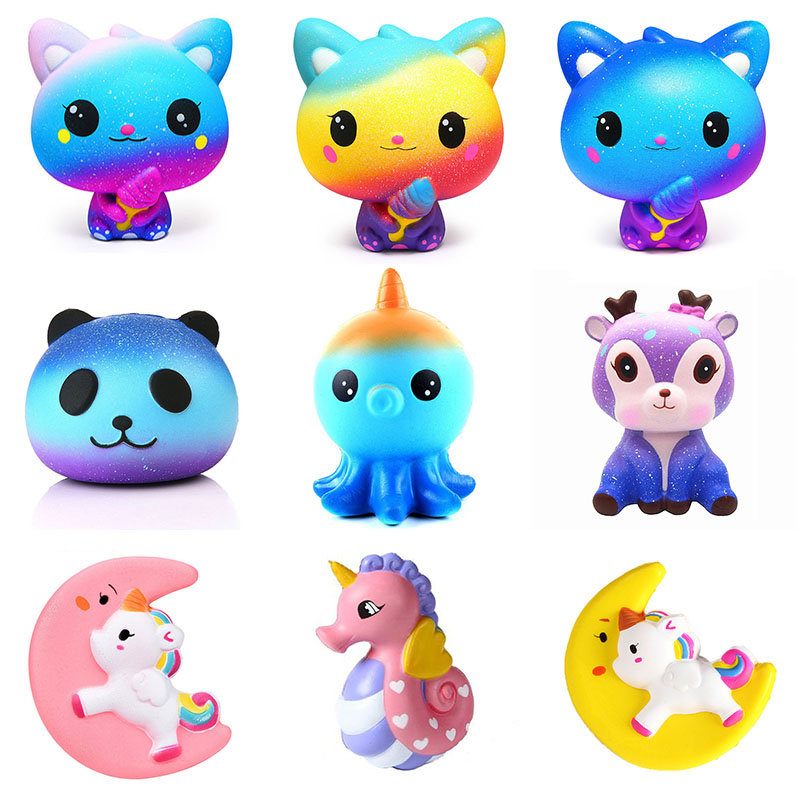 Kawaii Cartoon Galaxy Cute Deer Squishy Cat Jumbo Toys Slow Rising Cream Scented Squeeze Toys Novelty Gift For Children Gifts