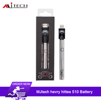 10pcs MJtech Heavy Hitters 350mAh Battery Electronic Cigarette three voltage settings CBD Button Vape Pen For 510 Oil Cartridge