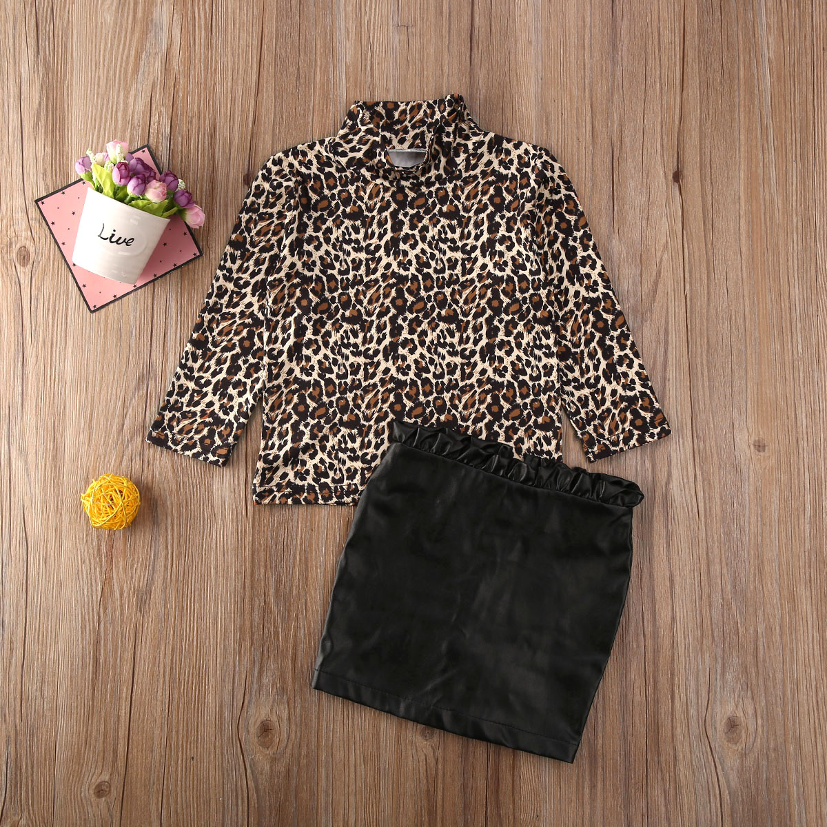 Pudcoco Newest Fashion Toddler Baby Girl Clothes Leopard Print Long Sleeve Cotton Tops Ruffle Leather Skirt 2Pcs Outfits Clothes