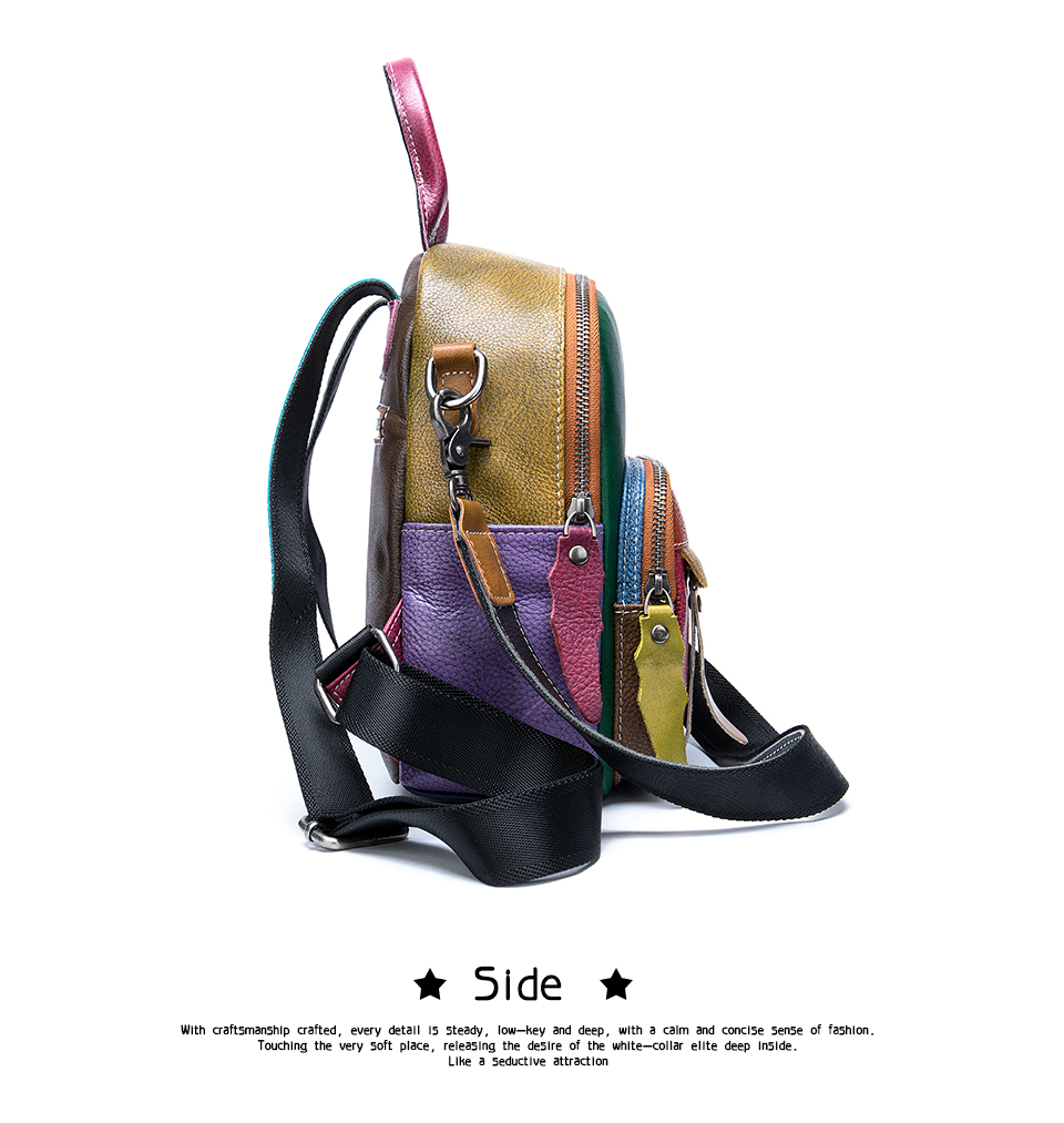 Women's Backpack Genuine Leather Festive Colors Patchwork Mini Backpack